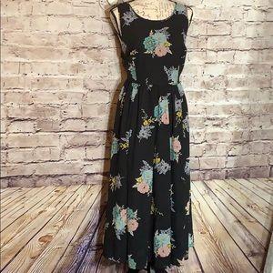 Torrid Black Floral Midi Dress